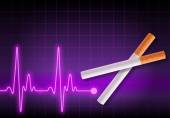 Scissors made of cigarettes cutting the heartbeat line — Stock Photo