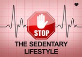 STOP THE SEDENTARY LIFESTYLE on ECG recording paper — Stock Photo