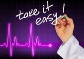 Doctor hand writing message TAKE IT EASY! — Foto de Stock