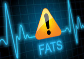 FATS - written on heart rate monitor with danger sign — Stock Photo