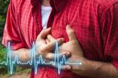Men with chest pain - heart attack — Stock Photo