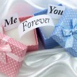 ME and YOU FOREVER-pink and blue present boxes — Stock Photo #52272023