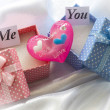 ME and YOU in love - pink and blue present boxes — Stock Photo #52272039