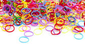 Rainbow loom bracelets — Stock Photo