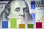 Benjamin Franklin's portrait and financial graph — Stok fotoğraf
