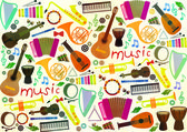 Classical musical instruments pattern — Stock Vector