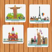 Travel and tourism locations — Stock Vector