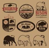Set of vintage bison icons, emblems and labels — Stock Vector