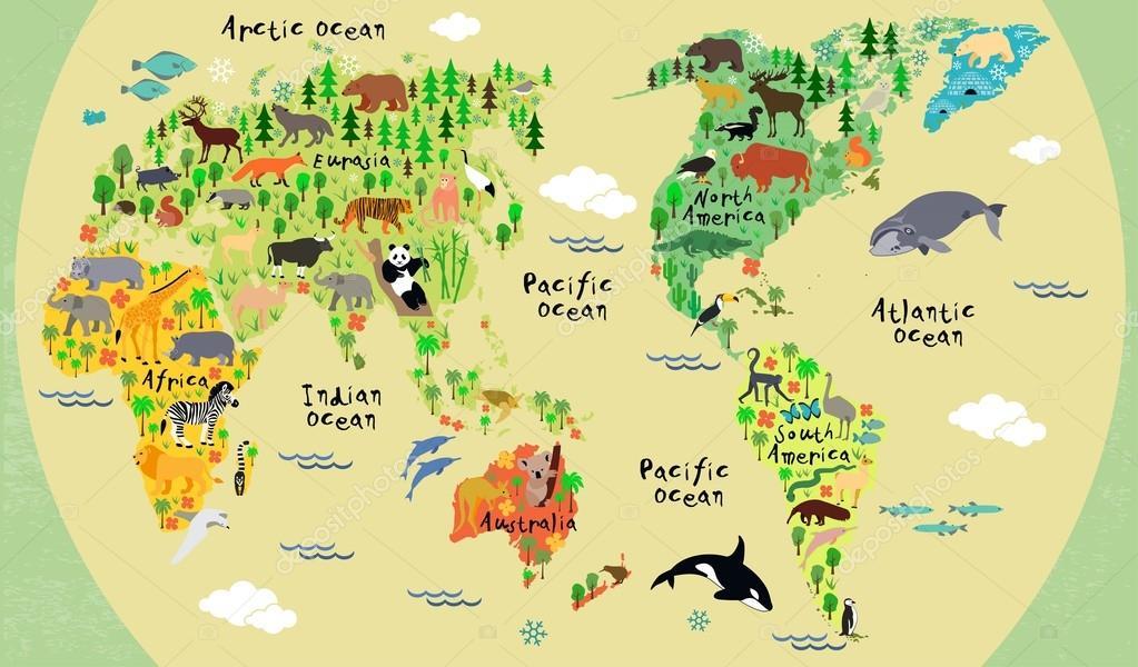 动物世界地图的孩子们和孩子们