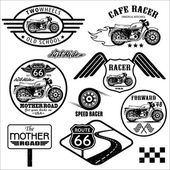 Set of vintage motorcycle badges — ストックベクタ
