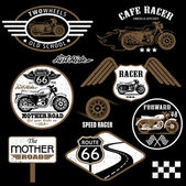 Set of vintage motorcycle badges — Stock Vector