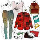 Fashion illustration clothing set.Student Style — Stock Vector
