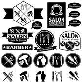 Set Of Vintage Barber Shop Badges — Stock Vector