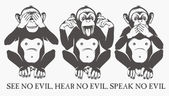 The three wise monkeys — Stock Vector