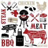 Barbecue pattern with meaty icons — Stock Vector