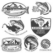 Vintage trout fishing emblems, labels and design elements — Stock Vector