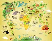 Cartoon world map — Stock Vector