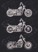 Set of vintage motorcycle badges — Stock Vector