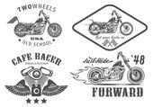 Set of vintage motorcycle badges — Stockvector