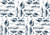 Pattern with trout fishing emblems, labels and design elements — Stock Vector