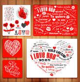 活版のバレンタイン カード — ストックベクタ