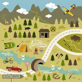 Set of vector icons for camping, outdoor activities and hunting. Landscape - stock vector — Stock Vector