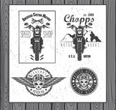 Set of vintage motorcycle labels — Stockvektor