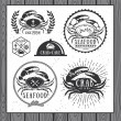 Set of vintage seafood labels, badges and design elements — Stock Vector #68554979