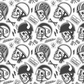 Motorcycle Themed handmade drawing helmets with skull. Helmets set. — Stock Vector