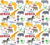 Africa cartoon pattern — Stock Vector