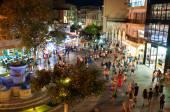 CRETE,HERAKLION-JULY 24: The fountain on Lions Square at night on July 24,2014 in Heraklion on the Crete island, Greece. — Stock Photo