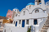 Blue domed church on the island of Santorini also known as Thera, Greece. — Stock Photo