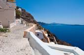 Detail of architecture in Oia town on the island of Santorini in Greece. — Stock Photo