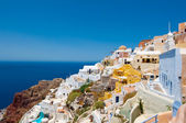 Colorful Oia and detail of the port Ammoudi below on the island of Thira (Santorini), Greece. — Stock Photo
