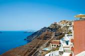 View of Fira on the edge of the caldera. Santorini, Greece. — Stock Photo