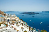 Detail of Fira cityscape on the island of Thera(Santorini), Greece. — Stock Photo