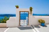 Door from the patio in Fira town on the island of Thira (Santorini), Greece. — Stock Photo