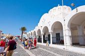 SANTORINI,FIRA-JULY 28: Orthodox cathedral on July 28,2014 in Fira town on the Santorini island, Greece. Firá is the modern capital of the Greek Aegean island, Santorini. — Stock Photo