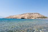 Libyan sea and the coast of Matala beach on the Crete island, Greece. — Zdjęcie stockowe