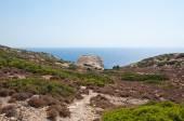 Libyan sea and mountain near Matala beach on the Crete island, Greece. — Zdjęcie stockowe