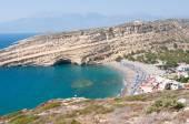 Panoramic view of Matala village and Matala beach on the Crete island, Greece. — Zdjęcie stockowe