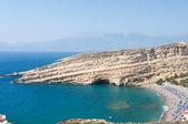Panoramic view of Matala caves and Matala beach on the Crete island, Greece. — Zdjęcie stockowe