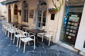 CORFU-AUGUST 22: Traditional Greek restaurant on Corfu island on August 22, 2014 in Kerkyra, Greece. — Stock Photo