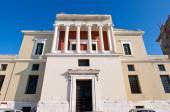 Facade of the Venetian building with Ionic columns in Corfu town,Korkyra. Greece. — Stock Photo