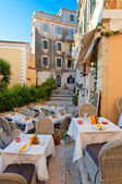 The outside restaurant on the island of Corfu, Greece. — Stock Photo
