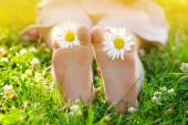 Kind voeten met daisy flower op groen gras in een zomer park. — Stockfoto