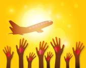 Hands waving airplane on a sunset background. Vector EPS10. — Stock Vector