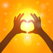 Silhouette hands  in heart shape on background of sunset. Vector — Stock Vector
