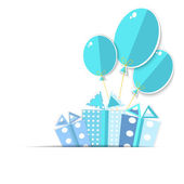 Greeting card with a gift boxes and balloons.  Vector EPS10. — Stock Vector