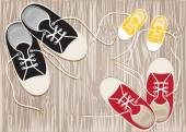 Sneakers on the hardwood floor of laces. Vector EPS10. — Stock Vector